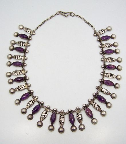 Martinez Vintage Mexican Silver Necklace With Amethyst Rare