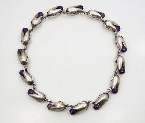 Antonio Pineda Vintage Mexican Silver Tulip Bud Amethyst Necklace