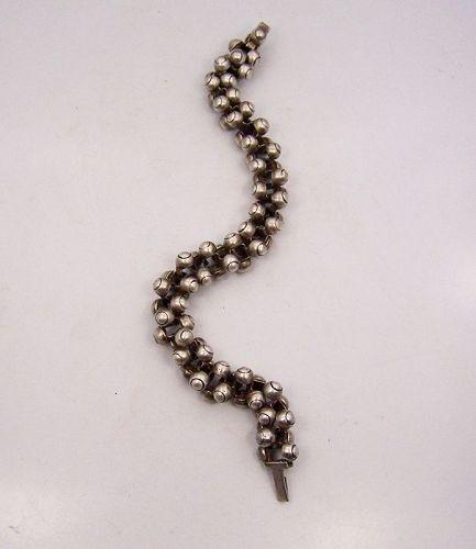 William Spratling Caviar Beads Triple Vintage Mexican Silver Bracelet