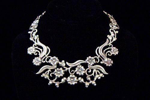 Doris Silver Vintage Mexican Silver Floral Pectoral Necklace
