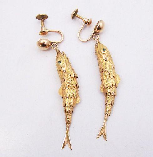 14 kt Gold Carmen Beckmann Vintage Mexican Silver Earrings