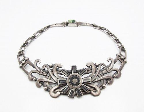 Signed Valentin Vidaurreta Vintage Mexican Silver Museum Necklace