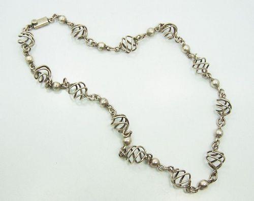 Spiral Vintage Mexican Silver Necklace