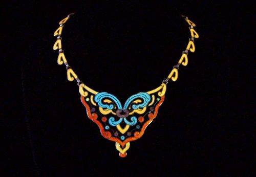 Vibrant Margot de Taxco Vintage Mexican Silver Enamel Necklace Mint