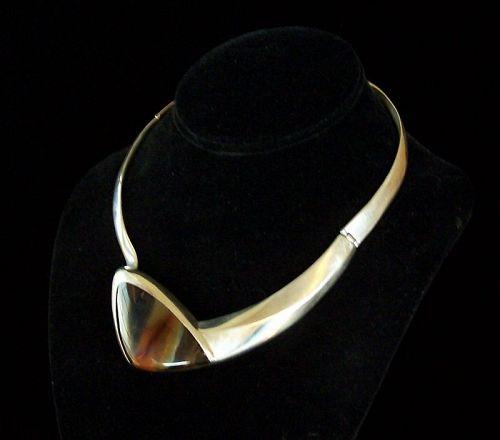 Enrique Ledesma Vintage Mexican Silver Agate Necklace