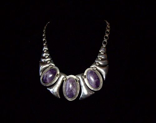 Fred Davis Monumental Amethyst Vintage Mexican Silver Necklace