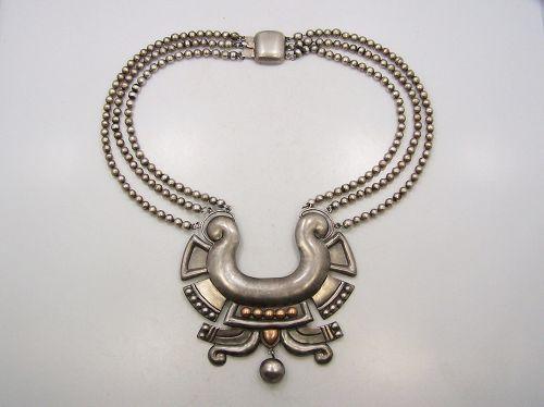 William Spratling Chupamirto Azteca Vintage Mexican Silver Necklace