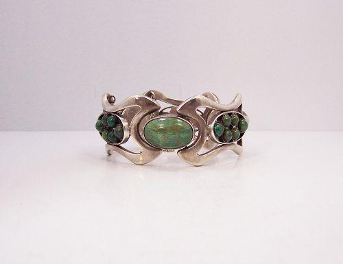 Erika Hult de Corral Green Stones Vintage Mexican Silver Bracelet