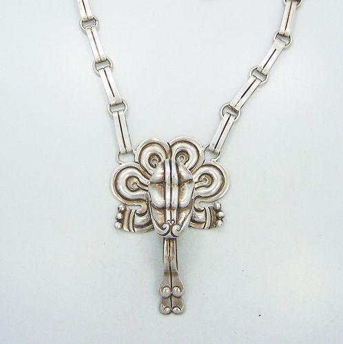 William Spratling Quetzalcoatl Vintage Mexican Silver Necklace
