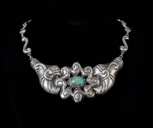 Old Mexico City Folk Work Vintage Mexican Silver Necklace