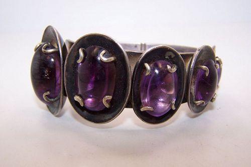 Los Castillo Five Amethyst Vintage Mexican Silver Bracelet