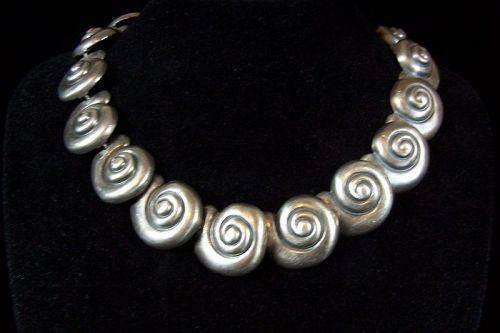 Margot de Taxco  Vintage Mexican Silver Shells Necklace