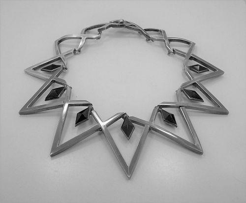 Antonio Pineda Vintage Mexican Silver Onyx Diamond Necklace