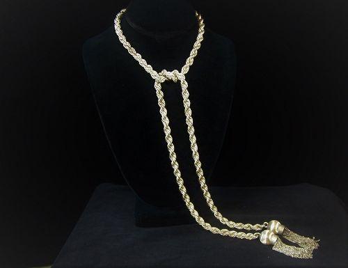 Villasana Vintage Mexican Silver Rope Lariat Necklace