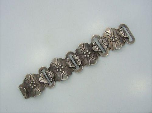 Signed Victoria Vintage Mexican Silver Big Floral Bracelet