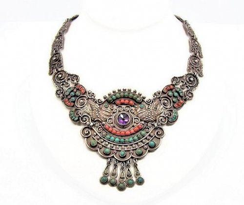 Matl Matilde Poulat Jeweled Vintage  Mexican Silver Palomas  Necklace