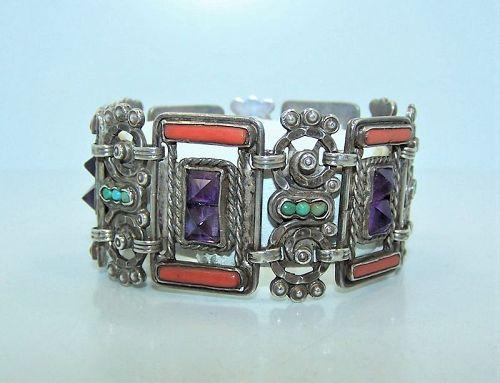Matl Matilde Poulat  Vintage  Mexican Silver Branch Coral Bracelet