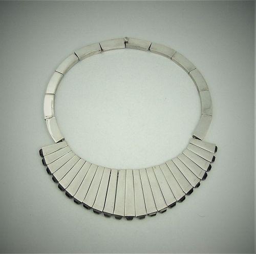 Antonio Pineda Vintage Mexican Silver Obsidian Matchstick Necklace