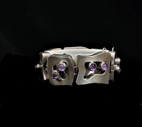 Salvador Teran Vintage Mexican Silver Amethyst Shadow Box Bracelet