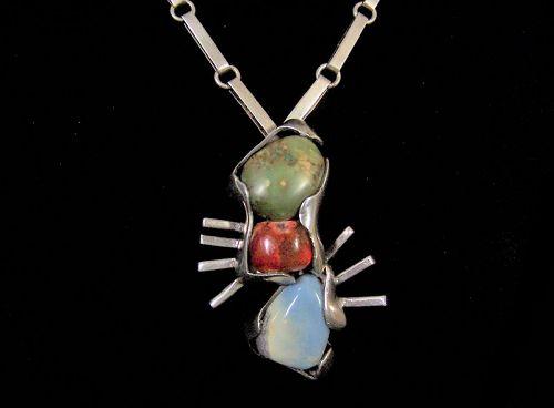 Salvador Teran Rocks Mexican Silver Vintage Necklace Brooch