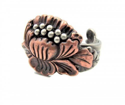 Hector Aguilar Vintage Mexican Silver Floral Bracelet