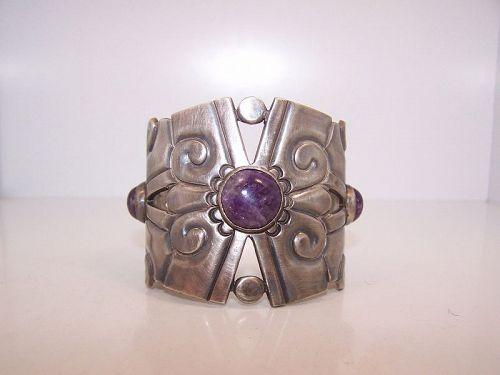 William Spratling Nahui Ollin Vintage Mexican Silver Cuff Bracelet