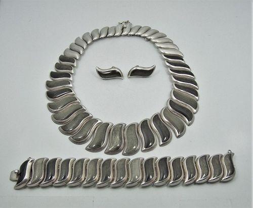 Martinez Vintage Mexican Silver Necklace Bracelet Earring Set Obsidian