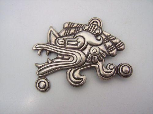 Antonio Pineda Very Early Vintage Mexican Silver Brooch Pin