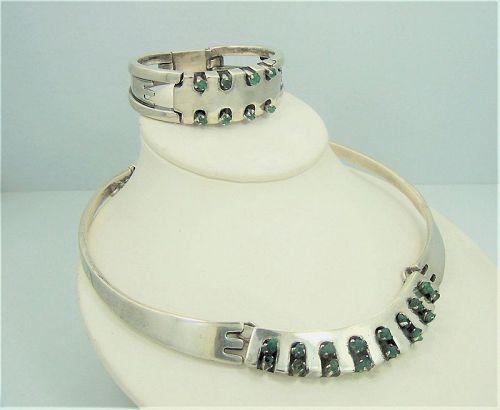 Salvador Teran Vintage Emerald Mexican Silver Bracelet Necklace