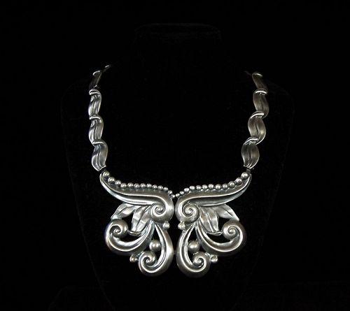 Margot de Taxco # 5184 Vintage Mexican Silver Necklace Pectoral