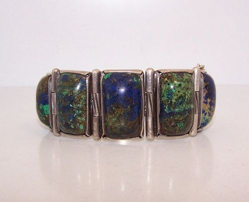 Hector Aguilar Vintage Mexican Silver Chrysocolla Bracelet