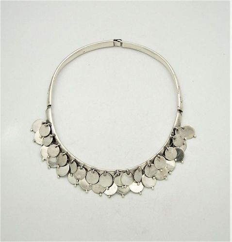 William Spratling Vintage Mexican Silver Disc Necklace
