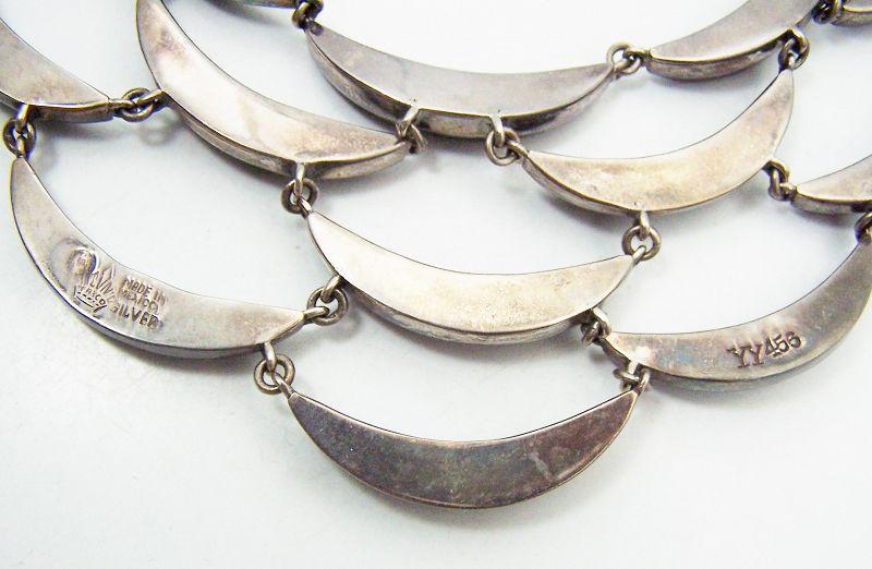 Antonio Pineda Vintage Mexican Silver Crescent Necklace
