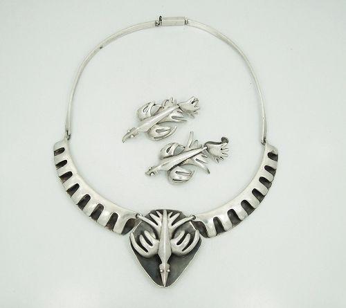 Salvador Teran Vintage Mexican Silver Bird Necklace & Earrings