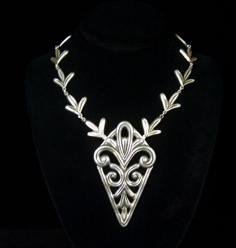 Early Los Castillo Vintage Mexican Silver Necklace / Brooch