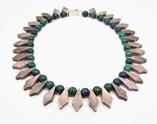 Arte En Plata Vintage Mexican Silver Necklace Azure Malachite