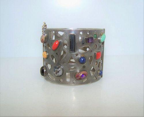 Celia Harms Vintage Mexican Silver Gemstone Bracelet