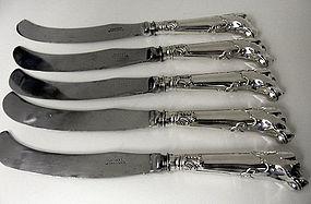 Storr Mortimer silver dog handled Knives, London 1839