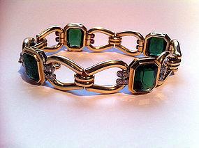 American Tourmaline Diamond Gold Bracelet