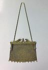 Art Nouveau Gold Diamond Pearl mesh link purse, C.1900