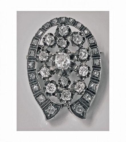 French Antique Diamond Brooch Pendant C.1870