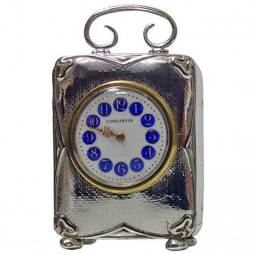 Art Nouveau Silver enamel carriage Clock, Birmingham 1911