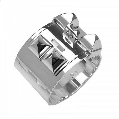 Hermes Solid Silver Collier de Chien Bracelet