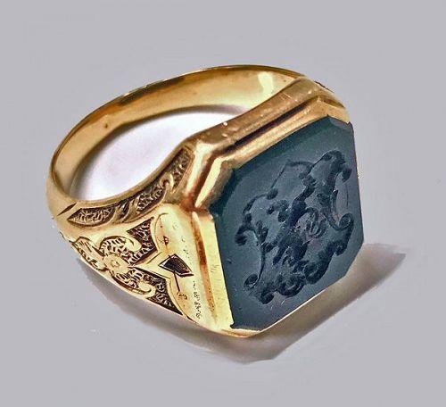 Antique Gold Bloodstone Signet Ring C.1880