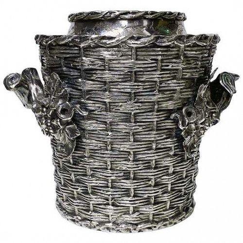 "Antique Wine Cooler Bucket ""trompe l'oeil"" England, C.1880"