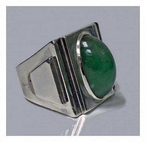 Striking Art Deco Architectural Design Ring, French Import Mark, circa