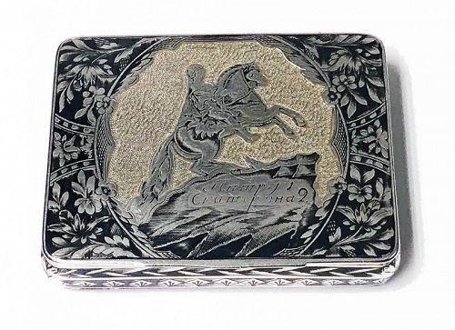 Russian Silver Niello Snuff Box, Nikolaì Lukich Dubrovin, 1824