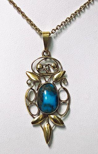Liberty Gold Turquoise Art Nouveau Pendant, circa 1900