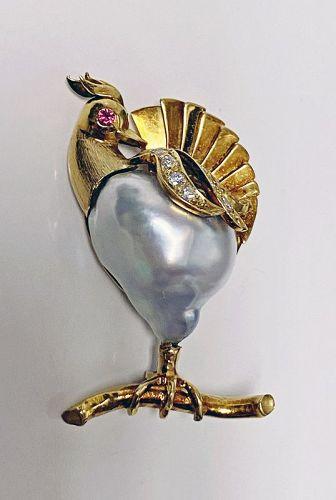 18K Gold Pearl Diamond Ruby Peacock Brooch