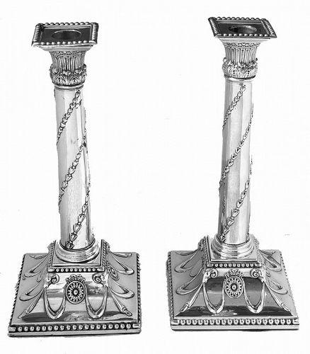 George 111 Silver Corinthian Column Candlesticks 1775 John Hoyland